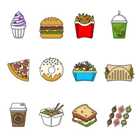 Zestaw ikon fast food. Napoje, przekąski i słodycze. Kolekcja kolorowe ikony opisane. Ilustracja wektorowa na białym tle. Kanapka, hamburger, pita, pizza, pączek, shake, sałatka, kawa, lody