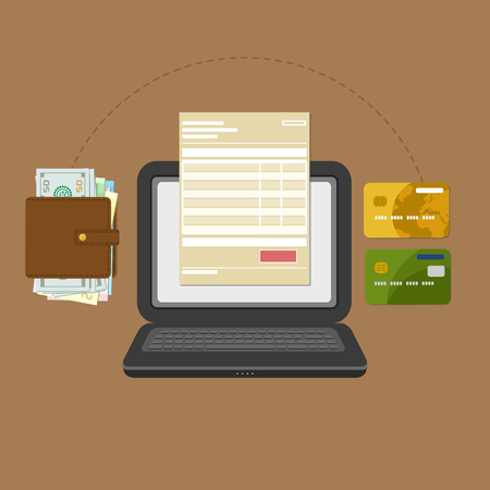 pay check: Concept of pay bill tax online account via computer or laptop. Online payment. Laptop with check invoice on the screen. Cash or bank card transfer. Purse with money and credit bank cards. Vector Illustration