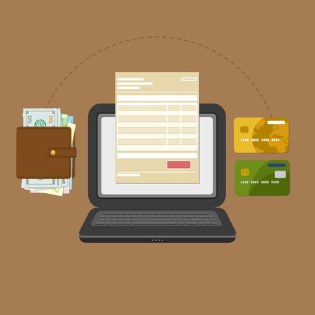 Pojęcie rachunku płatniczego podatku konta online za pośrednictwem komputera lub laptopa. Płatność online. Laptop z fakturĘ ... czekiem na ekranie. Przelew bankowy lub gotówkowy. Portmonetka z banknotami i kartami kredytowymi. Wektor