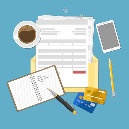invoices: Concept of tax payment and invoice. Open envelope with tax bills, invoices. Bank credit cards, notebook with records, smartphone, pen, pencil and coffee cup. Vector illustration.