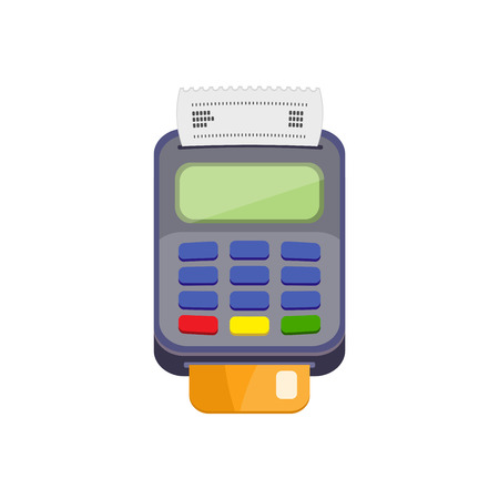cashless payment: POS terminal or credit card terminal with bank card. Cashless payments. Pos payment and credit card payment concept. Vector icon isolated on a white background. Flat design.
