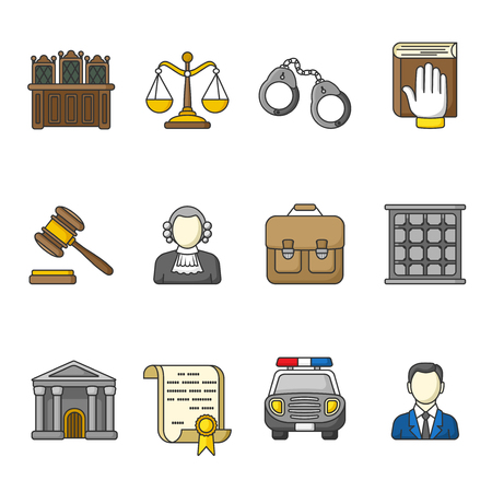 car grill: Set of law and justice icons. Colorful outlined icon collection. Judicial system concept. The judge, lawyer, scales, handcuffs, gavel, briefcase, court document, police car, prison grill. Vector. Illustration