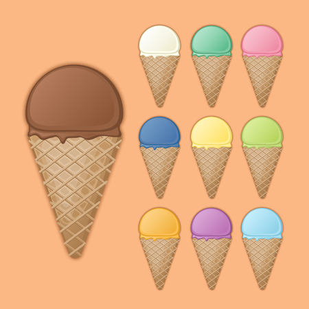 appease: Big chocolate cone with various fruit ice cream. Set of colorful sweet waffle cones and ice cream scoops with different flavors and colors. Vector illustration on a dark background with shadow.