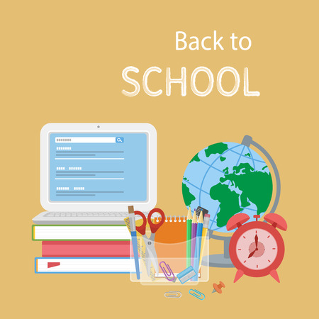 searcher: Back to school text. Open laptop with search form, textbooks, alarm clock, globe, stationery, notebook, pencils, scissors. Flat Style Education Concept. Vector illustration.
