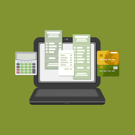 pay check: Concept of pay bill tax check online account via computer or laptop. Online payment. Laptop with check invoice on the screen. Bank card transfer. Credit bank cards with calculator. Vector