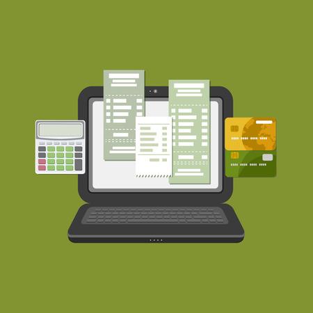 cuenta bancaria: Concepto de control fiscal factura de pago de cuenta en línea a través del ordenador o portátil. Pago en línea. Ordenador portátil con el registro de facturas en la pantalla. transferencia de tarjeta bancaria. tarjetas bancarias de crédito con la calculadora. Vector
