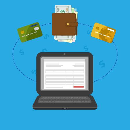 cuenta bancaria: Concepto de cuenta en línea factura de impuestos paga vía el ordenador o portátil. Pago en línea. Ordenador portátil con el registro de facturas en la pantalla. Dinero en efectivo o transferencia de tarjeta bancaria. Monedero con dinero y tarjetas de crédito bancarias. Vector