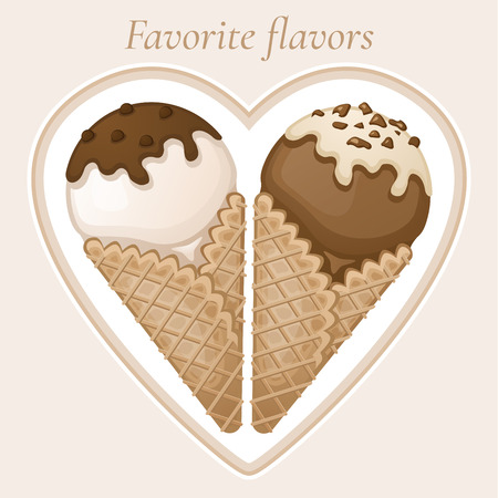 tastes: Vanilla and chocolate ice cream with chocolate topping and cream in a waffle cone. Favorite dessert tastes. Sweet tasty ice cream with chocolate sprinkles. Vector colorful illustration. Illustration
