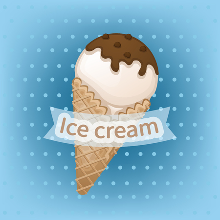 Vanilla ice cream with chocolate topping in a waffle cone. Delicious sweet ice cream with chocolate sprinkles. Ice cream emblems badges labels. Vector illustration.