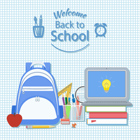 knapsack: Welcome back to school. Creativity and science concept background. Knapsack, books, apple, pencil, dividers, marker, open laptop with icon idea. School supplie. Vector on checkered background.