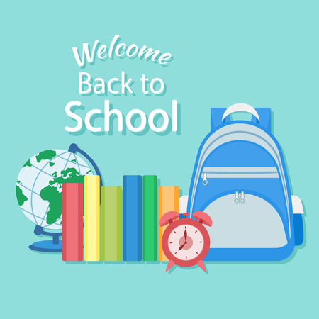 knapsack: Welcome back to school. Education in the school concept background. Knapsack, books, alarm clock, globe. Vector illustration. School supplie and items. Illustration