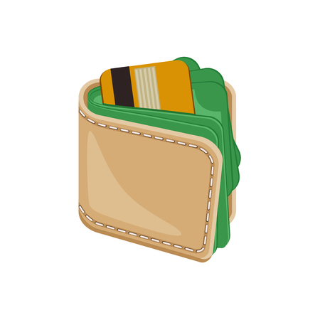 money wallet: Leather stitched wallet with money. Wallet full of money. Wallet with plastic credit bank cards and money. Vector icon illustration isolated on white background. Illustration