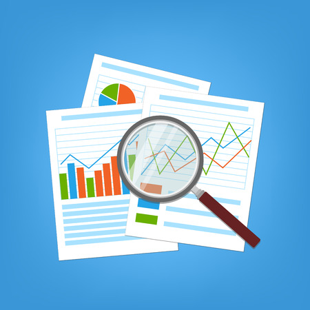 glass paper: Concept for business planning and accounting, analysis, Financial Audit Concept, SEO analytics, tax audit, working, management. Paper analytic graphs and charts. Magnifying glass over the document.