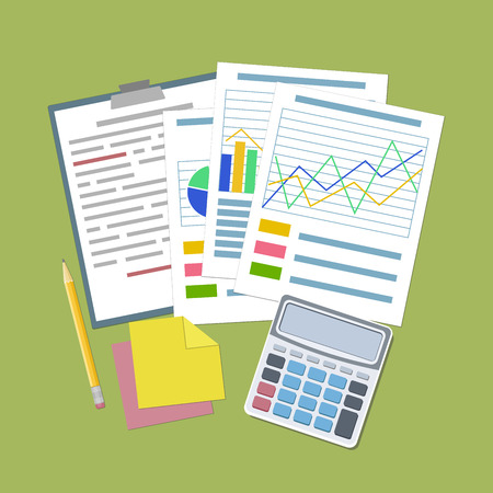 analytic: Concept for business planning and accounting, analysis, Financial Audit Concept, SEO analytics, tax audit, working, management. Analytic graphs and charts, tablet, calculator, stickers, pencil Vector