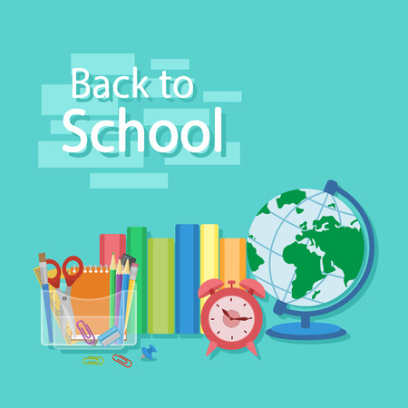 Back to school text. Books, textbooks, exercise books, organizer with Stationery, globe, alarm clock. Flat Style Education Concept. Vector illustration.