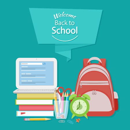 searcher: Welcome back to school text on the banner. Open laptop with search form, textbooks, alarm clock, schoolbag, stationery, pencils, scissors, paper clips. Flat Education Concept. Vector illustration.