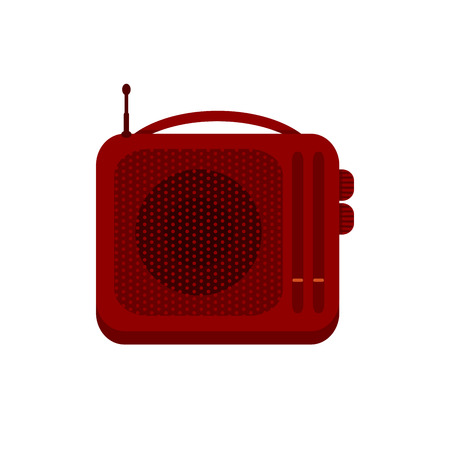 solated on white: Red portable handheld radio receiver icon. Music sign. Sound symbol. Vector illustration of retro radio solated on white background.