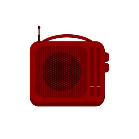 Red portable handheld radio receiver icon. Music sign. Sound symbol. Vector illustration of retro radio solated on white background.