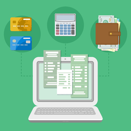 The concept of payment accounts tax bill via a computer or a laptop. Online payment. Laptop with checks on the screen. Bank card transfer. Credit cards, purse with money, calculator. Vector. Illustration