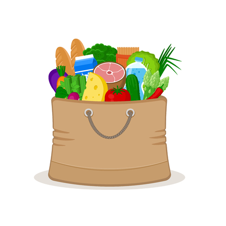 grocery bag: Paper bag full of food isolated on white background. Concept shopping in a market. Vegetables, meat, cheese, milk, groceries. Grocery bag. Healthy food. Vector illustration