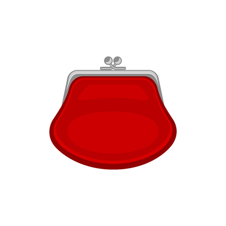 isoated: Red purse. Vector icon isoated on a white background. Vector illustration. Illustration