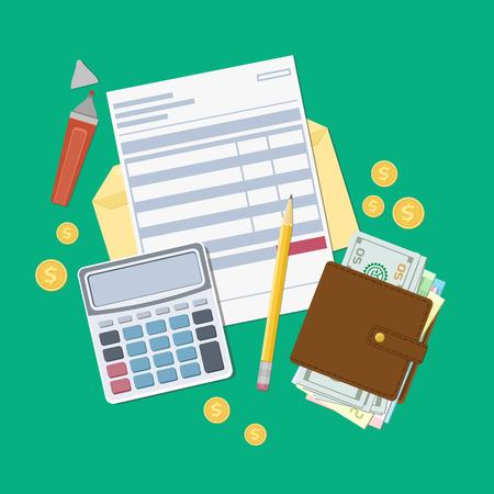 pago de facturas o una factura de impuestos. Abra el sobre con un cheque, calculadora, bolso con dinero, lápiz, marcador, monedas de oro. Vista desde arriba. Ilustración del vector. diseño de la tela plana.