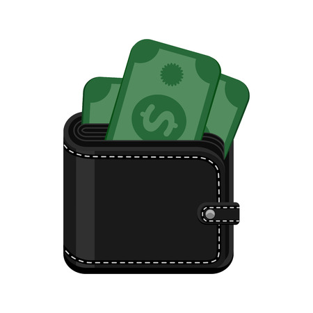 billfold: Black leather stitched wallet with cash money. Vector icon illustration isolated on white background. Illustration