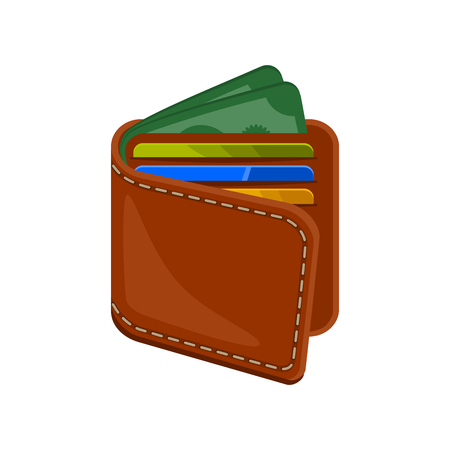 plastic money: Wallet with plastic credit bank cards and money. Brown leather purse full of cash and cards. Vector icon illustration isolated on white background. Illustration