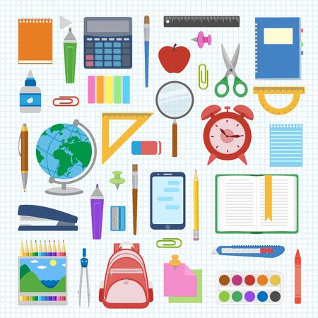Schulbedarf und Gegenstände auf ein Blatt in einer Zelle gesetzt. Zurück zu Schulausstattung. Bildung Arbeitsplatz-Zubehör auf weißem Hintergrund. Infografik-Elemente. Vektor-Illustration.