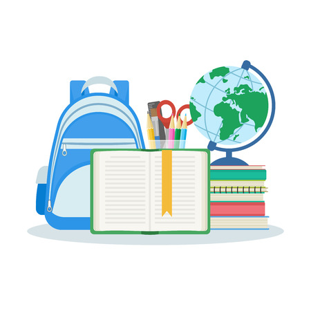 satchel: Open book with a bookmark, a stack of books and notebooks, satchel, globe, stationery set. Vector illustration isolated on white background. Education and learning concept. Flat design. Illustration