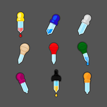 Pipette Icon. Set of different colors pipettes with blood, water or oil. Pipette vector design.