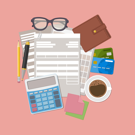 Concept of tax payment. Payment bills, receipts, invoices. Paperwork. Paper invoice form, wallet, credit cards, calculator, pen, pencil, coffee, glasses, stickers for notes. Vector illustration.