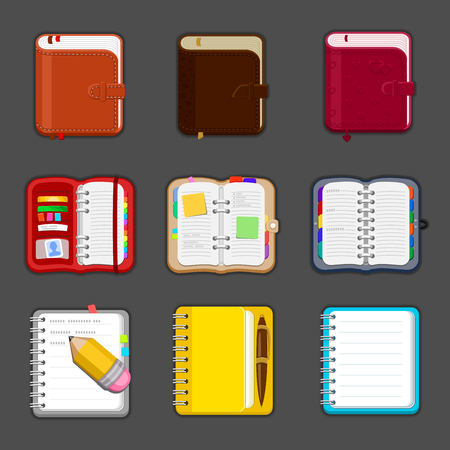 sketchpad: Collection of various open and closed notebooks, diary, sketchpad, pocketbook. Set of different notepads and tablets with notes and bookmarks. Vector icon.