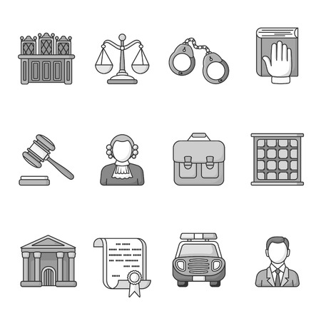 outrage: Set of law and justice icons. Black and White outlined icon collection. Judicial system concept. The judge, lawyer, scales, handcuffs, gavel, briefcase, court document, police car, prison grill.Vector Illustration