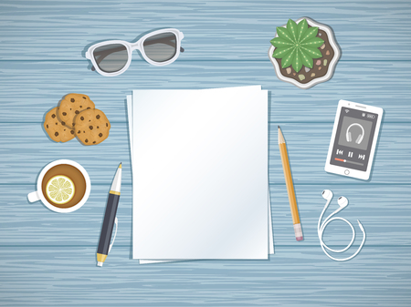 dispositions: Blank paper on the desktop. Top view of paper, pen, pencil, smartphone running the music player, headphones, glasses, tea with lemon, cookies. Preparation for work, notes, sketches. Illustration