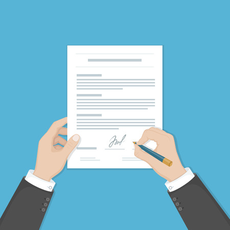 financial agreement: Businessman signing a document. Man hands with pen and contract. The process of business financial agreement. Document with a signature. Vector illustration view from above.