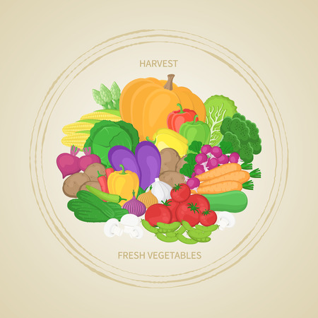 Collection of fresh, healthy vegetables in circle. Autumn harvest. Label, sticker, banner for design. Natural, healthy food concept. Organic food illustration. Vector.