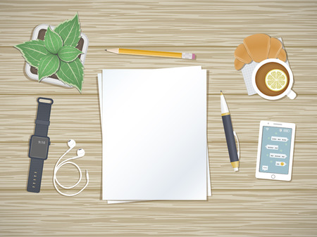 dispositions: Clean sheets of paper on the desktop. Top view of paper, pen, pencil, smartphone with message of the screen, headphones, smart watch, tea with lemon, pot. Preparation for work, notes, sketches. Illustration