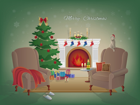 Frohe Weihnachten zu Hause Innenraum mit einem Kamin, Weihnachtsbaum, Sessel, bunten Kisten mit Geschenken. Kerzen, Socken und Dekorationen, Sekt und Gläser. Warten auf das neue Jahr und Weihnachten.