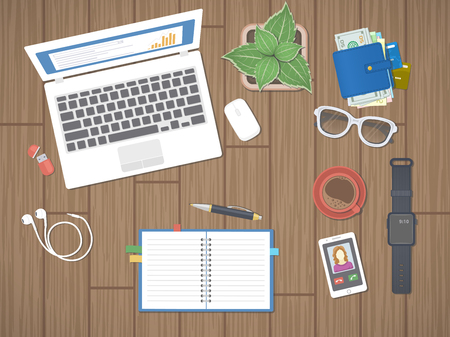 wooden work: Workplace in office. Work in a team, Work activity. Office work equipment on a wooden table. Laptop, notepad, pen, smart watches, phone, wallet, flash drive, headphones, coffee. Top view. Vector