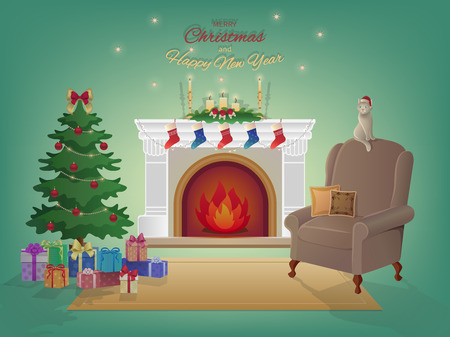 merry christmas home interior with a fireplace christmas tree armchair colorful boxes with