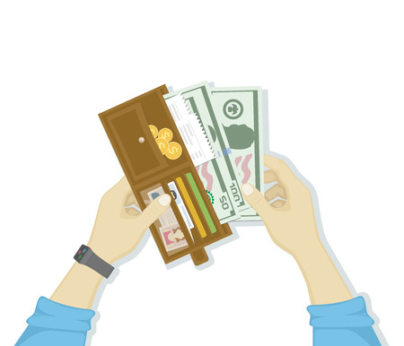 Open wallet with cash money and credit cards, gold coins, checks, drivers license in man hands isolated on white background. Human hands putting cash dollars. Payment concept. Vector in flat design