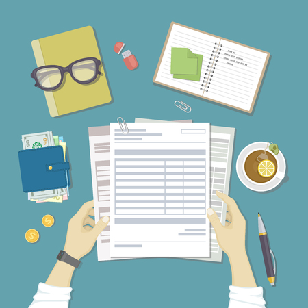 checking accounts: Man works with financial documents. Concept of paying bills, payments, taxes. Human hands hold the accounts, payroll, tax form. Workplace with papers, blanks, forms, wallet with money. Top view Vector