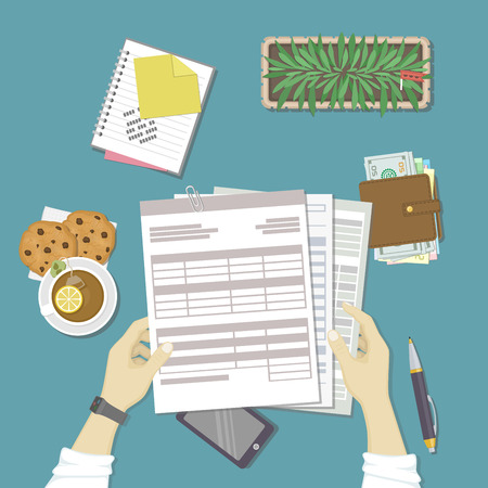 checking account: Man working with documents. Human hands hold the accounts, payroll, tax form. Workplace with papers, blanks, forms, phone, wallet with money, notebook with notes, pot, tea, cookies. Top view Vector
