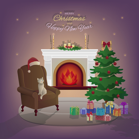 merry christmas and new year interior with fireplace christmas tree armchair boxes with