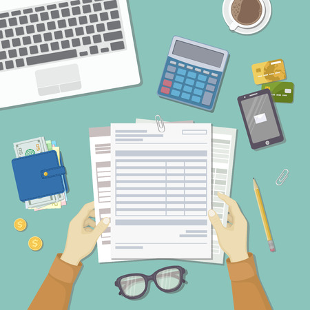 checking accounts: Man works with financial documents. Concept of paying bills, payments, taxes. Human hands hold the accounts, payroll, tax form. Workplace with papers, blanks, forms, wallet credit card Top view Vector
