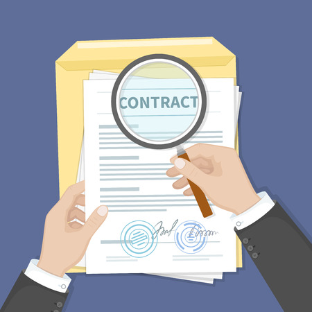 signing papers: Contract inspection concept. Hands holding magnifying glass over a contract. Contract with signatures and seals. Research documents.