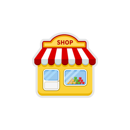 show window: Store icon. Shop icon. Cartoon vector illustration isolated on white background.