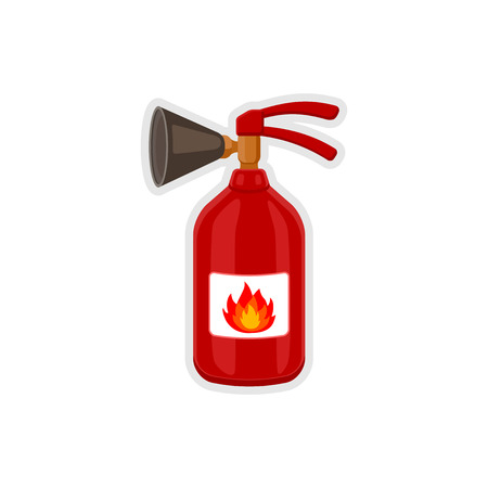 suppression: Fire extinguisher icon cartoon style. Equipment for fire-extinguishing. Vector icon illustration of isolated on white background. Illustration