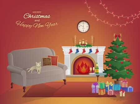 Merry Christmas room interior on a red background with a fireplace, Christmas tree, couch, gift boxes, wall clock. Candles socks and decorations. Waiting for the New Year and Christmas card. Vector